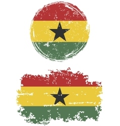 Ghanaian round and square grunge flags vector