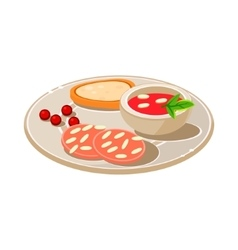 Tasty snack with bread and soum vector