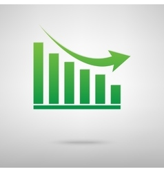 Declining graph green icon vector