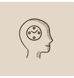 Human head with clock sketch icon vector