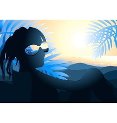Person wearing sunglasses enjoying the scenery vector