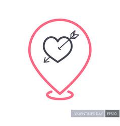 arrow heart icon love pin map icon vector image vector image