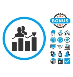 Audience graph flat icon with bonus vector