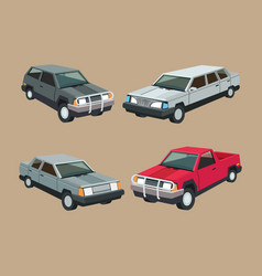 Auto garage car set design vector
