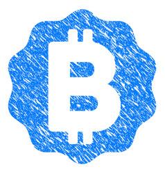 Bitcoin medal coin grunge icon vector
