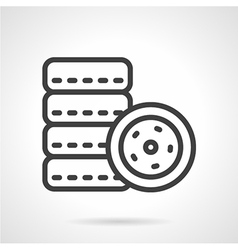 Car tires simple line icon vector image