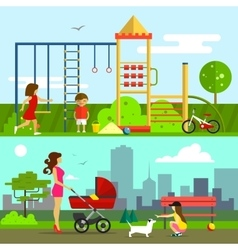 Children playground in flat vector image