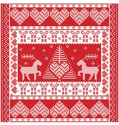 Christmas Nordic tile style pattern with reindeer vector image vector image