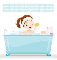 cute girl bathing in bathtub in bathroom vector image vector image