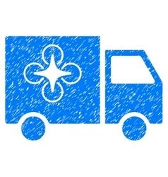 Drone delivery van grainy texture icon vector
