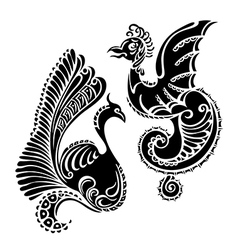 fantasy abstract dragon tattoo vector image