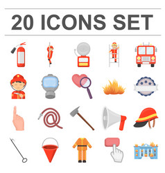 Fire department cartoon icons in set collection vector