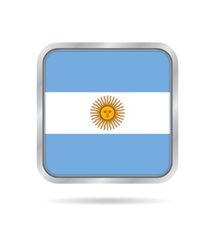 Flag of argentina shiny metallic square button vector