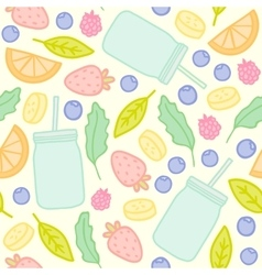 Fruits berries and smoothie jars outline seamless vector image vector image