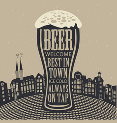 glass of beer on the background of old town vector image vector image
