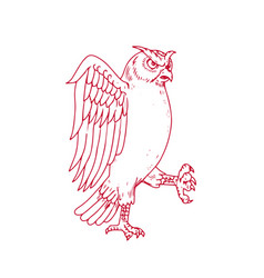 great horned owl marching drawing vector image