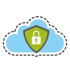Isolated padlock and cloud design vector