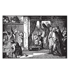 Jesus heals a paralytic man at the pool at vector