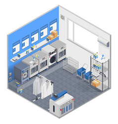 Laundry isometric concept vector