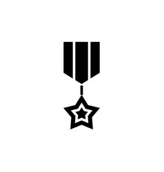 medal star icon black sign vector image