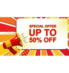 Megaphone with special offer up to 50 percent off vector