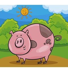 pig livestock animal cartoon vector image vector image