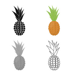 pineapple icon cartoon singe fruit icon vector image