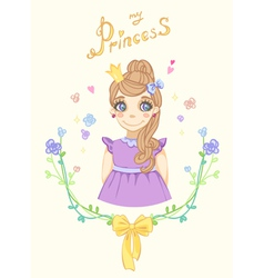 Princess girl in floral frame with crown vector