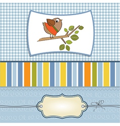 romantic greeting with funny little bird vector image vector image