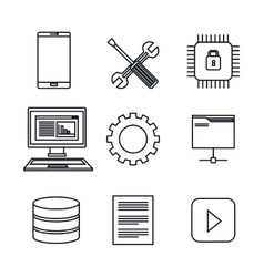 set icons database center server isolated vector image