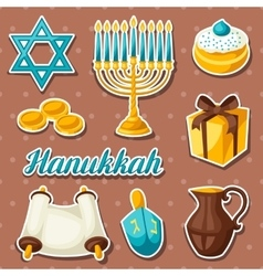 Set of jewish hanukkah celebration sticker objects vector
