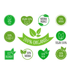 set of vegan organic healthy food signs logos vector image
