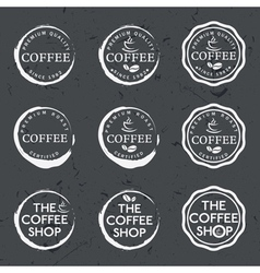 Set of vintage retro coffee labels on chalkboard vector