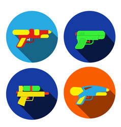 set of water gun icons in flat style vector image vector image