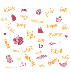 Sketch bread and sweet elements set vector