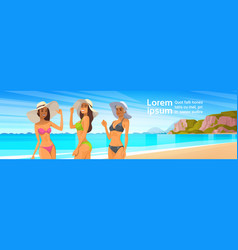 three woman in bikini on beach sexy girls wear vector image