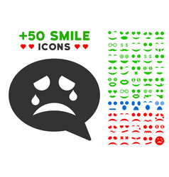Tiers smiley message icon with bonus smile set vector
