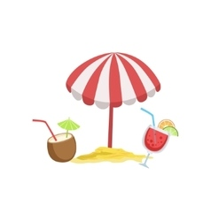 Two Cocktail Tropical Drinks And Beach Umbrella vector image vector image