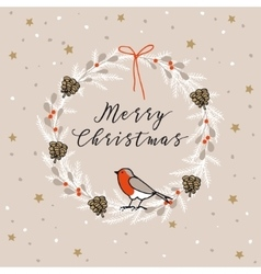 Vintage Merry Christmas Happy New Year greeting vector image vector image