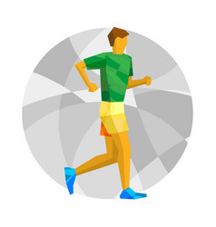 Walking sportsman with abstract patterns vector