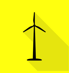 Wind turbine logo or sign black icon with flat vector