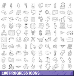 100 progress icons set outline style vector