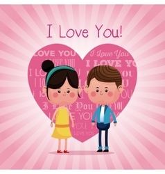 Lovely young couple smiling i love you pink heart vector