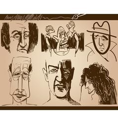 People faces cartoon sketch drawings set vector