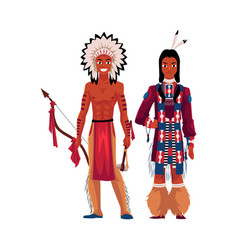 Native american indian man shirtless in feather vector