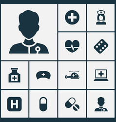 Medicine icons set collection of rhythm pills vector