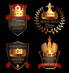 Premium quality mark set with golden crown vector