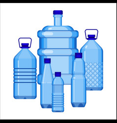water bottles set of various size on white vector image