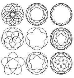 set spirographic elements for design of labels vector image