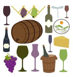 Vintage wine icons collection vector